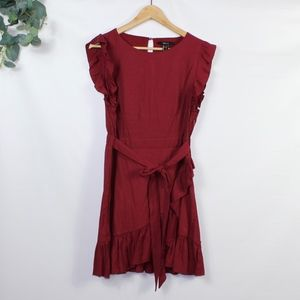 Forever 21 Burgundy Ruffle Tie Dress